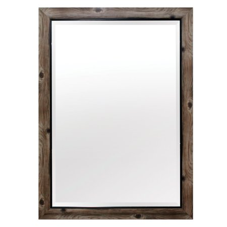 Yosemite Home Gray Wood Frame with Black Trim Wall Mirror ()