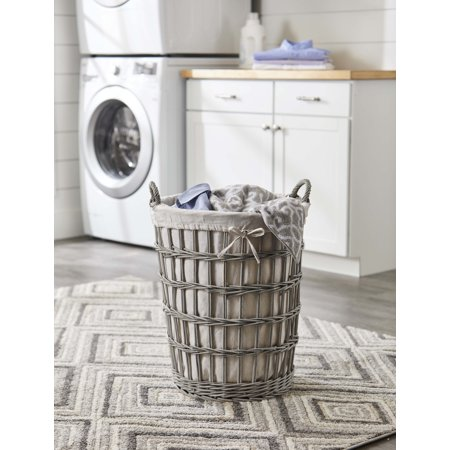 Better Homes & Gardens Collection Grey Washed Willow Hamper with Handles & Natural Liner