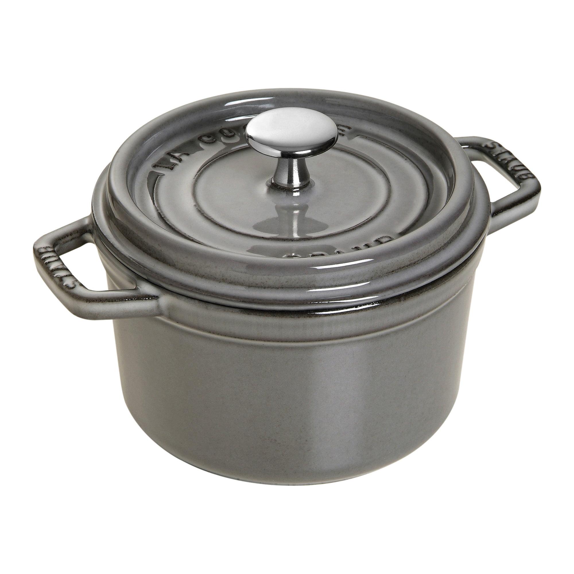 Staub Cast Iron 0.75-qt Round Cocotte - Graphite Grey