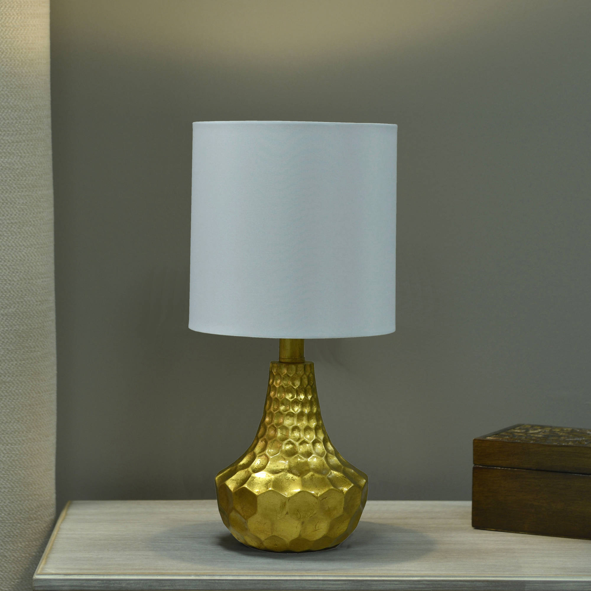 Better Homes and Gardens Gold Faceted Table Lamp with Linen Shade by JIMCO LAMP CO.