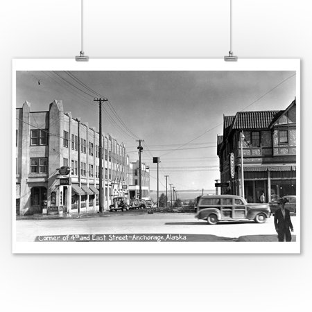 Anchorage, Alaska - 4th and East Street Corner Photo (9x12 Art Print, Wall Decor Travel