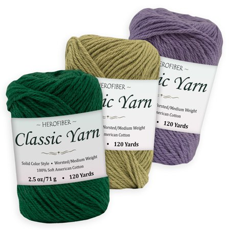 Cotton Yarn - 3 Solid Colors [2.5 oz Each] - Green Pine, Olive, Purple Iris - Worsted/Medium Weight - Assortment for Knitting, Crochet, Needlework, Decor, Arts & Crafts Projects