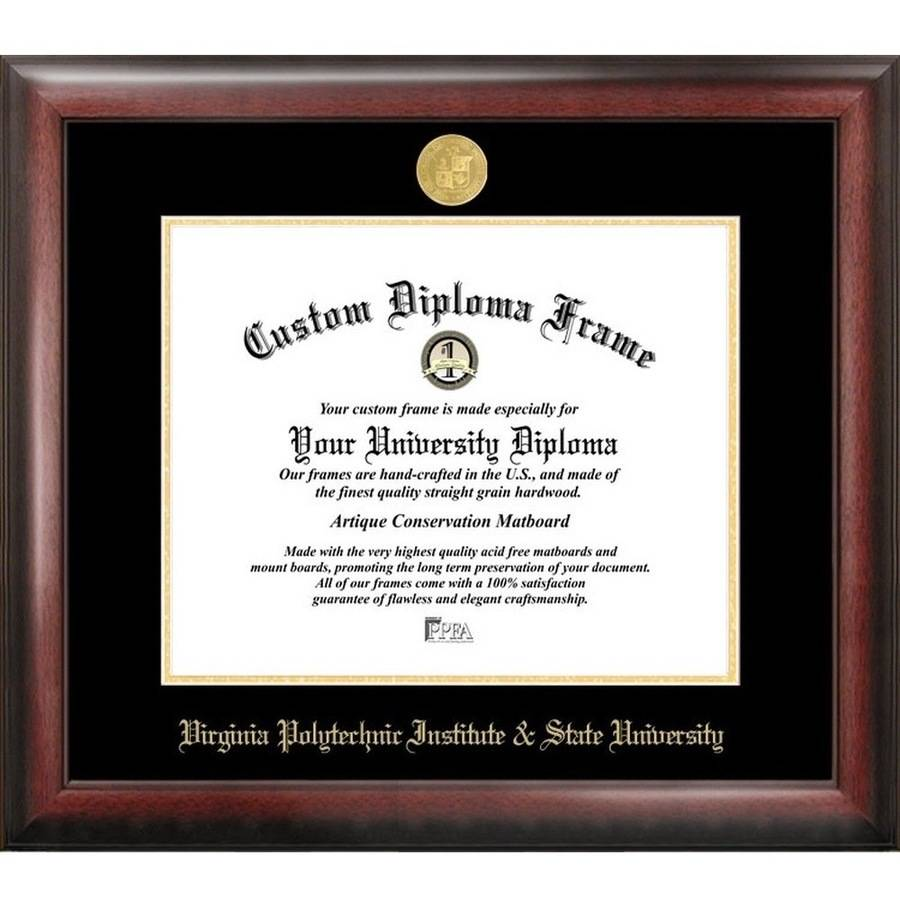 Virginia Tech 13.5 x 15.5 Gold Embossed Diploma Frame