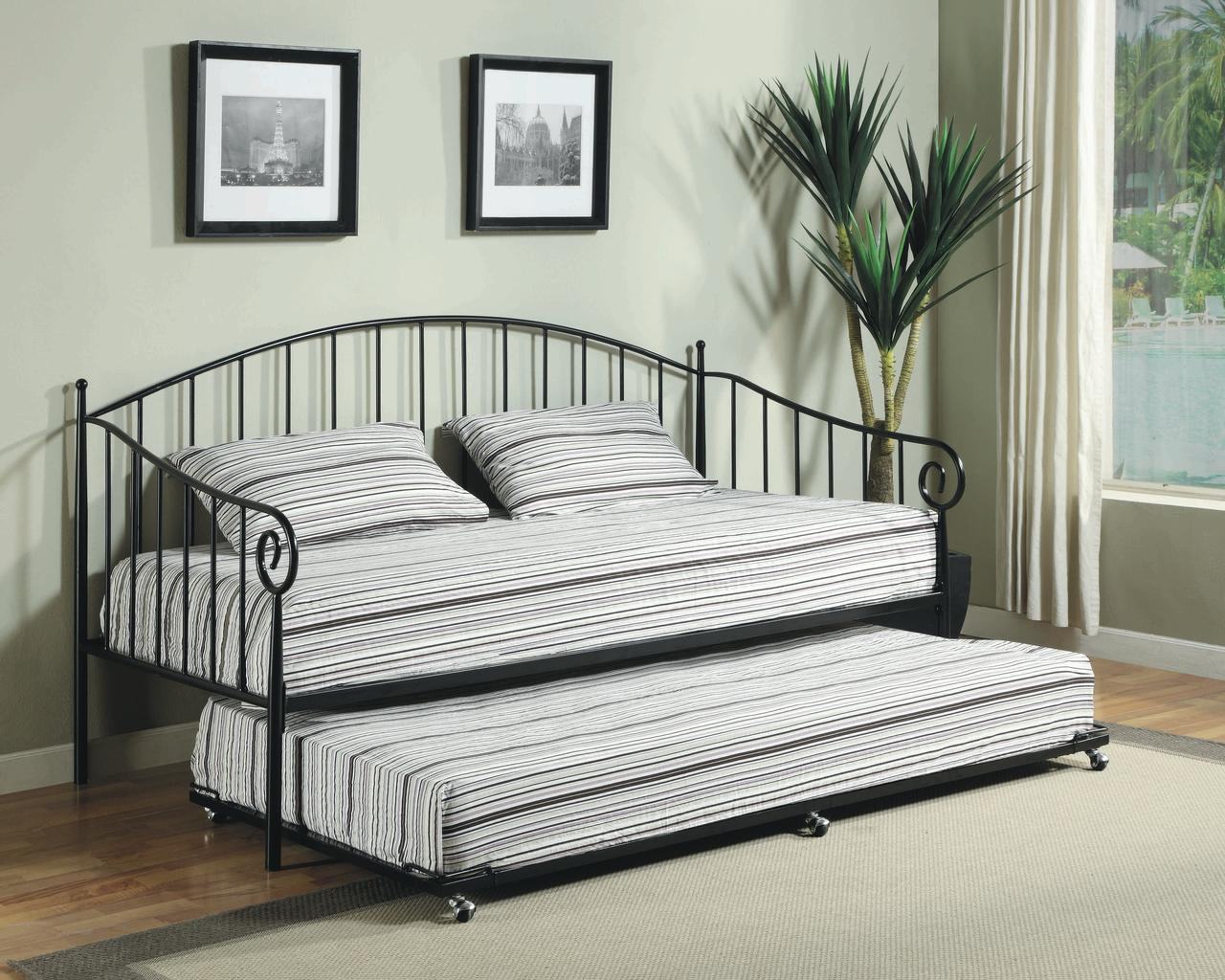 twin size white metal day bed frame with rollout trundle headboard footboard rails u0026 slats twin daybed u0026 trundle walmartcom