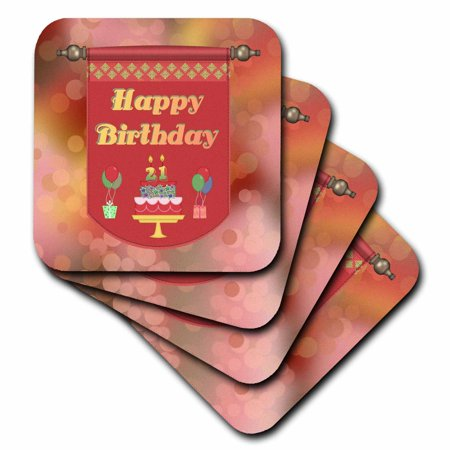 (3dRose Happy 21st Birthday Banner, Cake with Gifts and Balloons, Soft Coasters, set of 8)