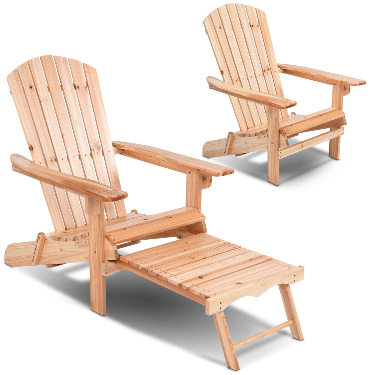 Gymax Wood Adirondack Chair w/Footrest Stool Ottoman Foldable Patio Deck Outdoor