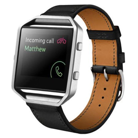 Luxury Leather Watch band For Fitbit Blaze Smart Watch BK (Banks Leather)