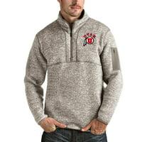 Utah Utes Antigua Fortune Half-Zip Pullover Jacket - Oatmeal