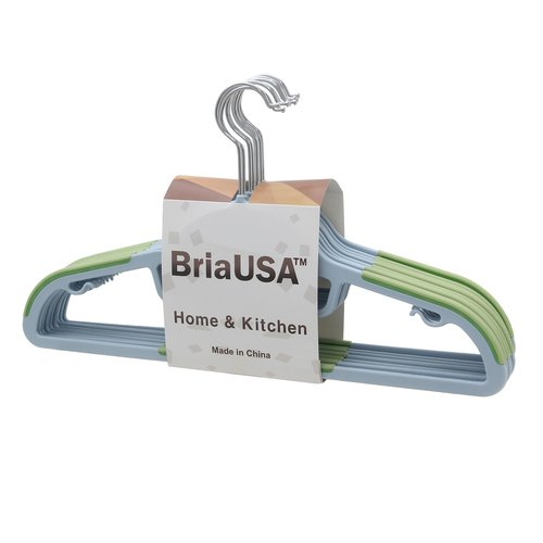 BriaUSA Dry Wet Amphibious Steel Swivel Hook Clothes Hanger  (Set of 10)