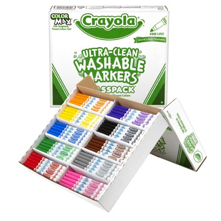 Crayola Ultra-Clean Washable Markers Classpack, Fine Line, 10 Colors, Pack Of 200