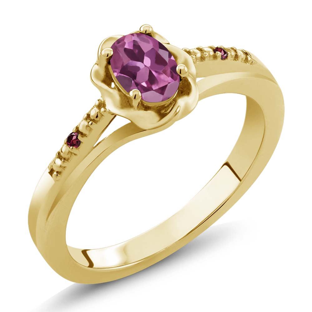 0.52 Ct Oval Pink Tourmaline Red Rhodolite Garnet 14K Yellow Gold Ring by
