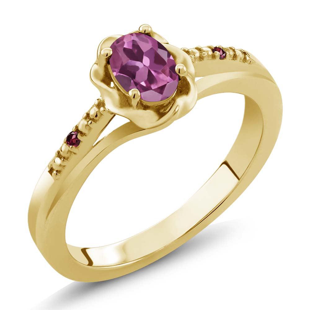 0.52 Ct Oval Pink Tourmaline Red Rhodolite Garnet 18K Yellow Gold Ring by