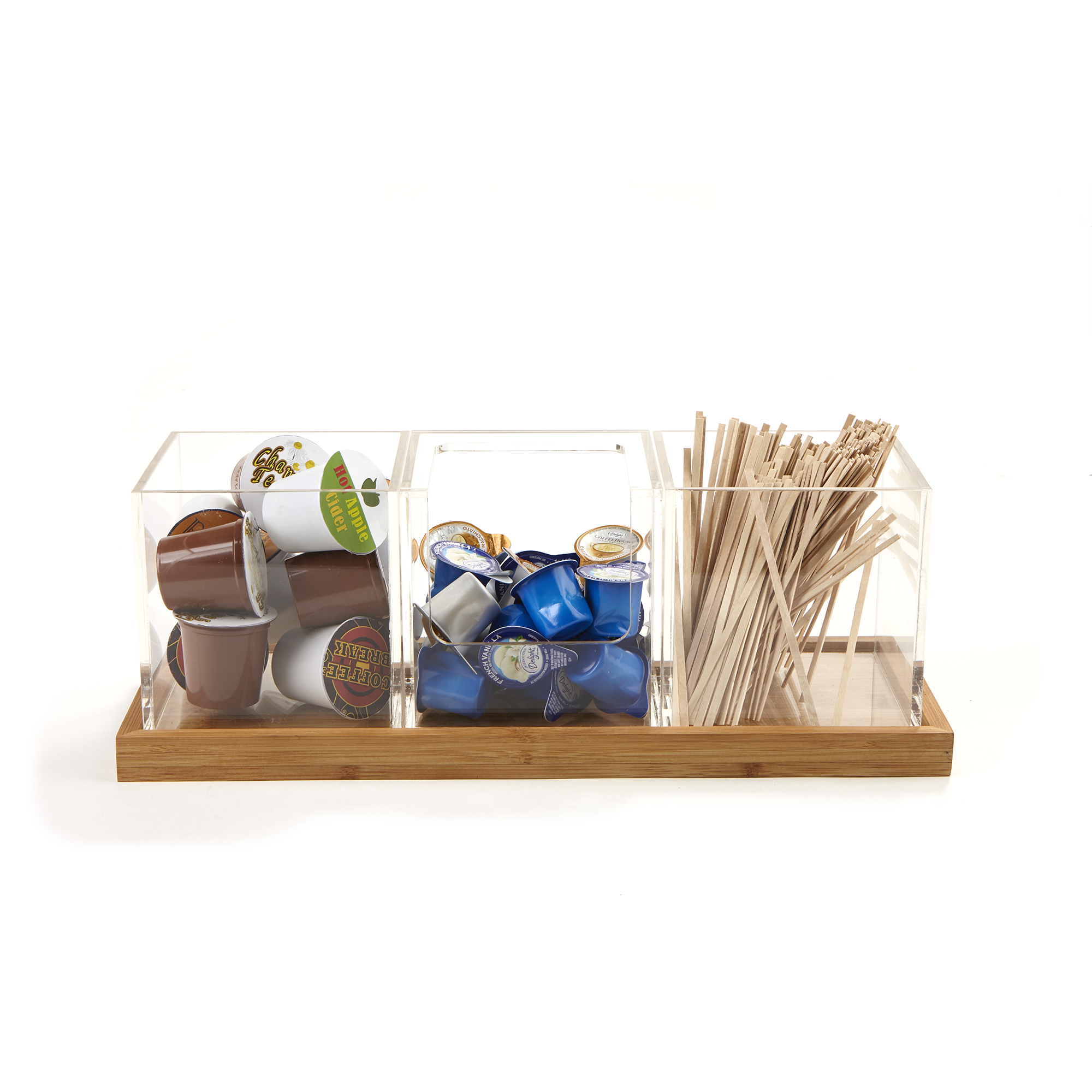 Mind Reader 3 Piece Acrylic Condiment Organizer With Bamboo Base, Clear