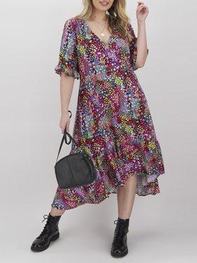 Simply Be Women's Plus Size Button Through Wrap Midi Dress