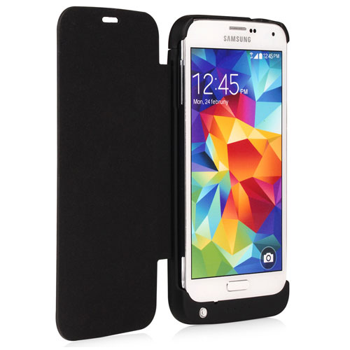 NAZTECH 3200mA Battery Power Case Flip Style for Samsung Galaxy S5 - Black