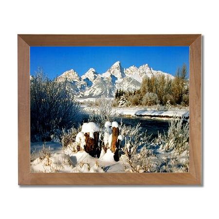 Grand Teton Mountain Winter Lake Snow Trees Wall Picture Honey Framed Art Print - Winter Frames