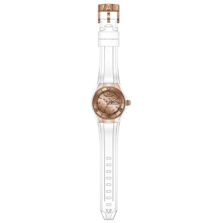 Technomarine TM-115001 Unisex Cruise Rose Gold Dial White Silicone Strap Dive Watch