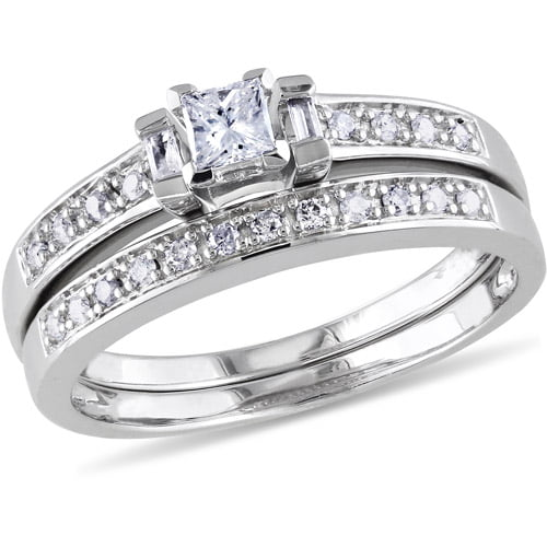 Miabella 1 3 Carat T.W. Princess, Baguette and Round-Cut Diamond Sterling Silver Bridal Set by Delmar Manufacturing LLC