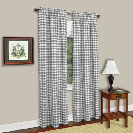 Sweet Home Collection Buffalo Check Grey Cotton-blend Window Curtain Panel