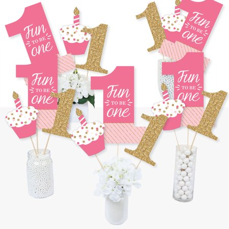 1st Birthday Girl - Fun to be One - First Birthday Party Centerpiece Sticks - Table Toppers - Set of 15](1st Birthday Girl Party Supplies)