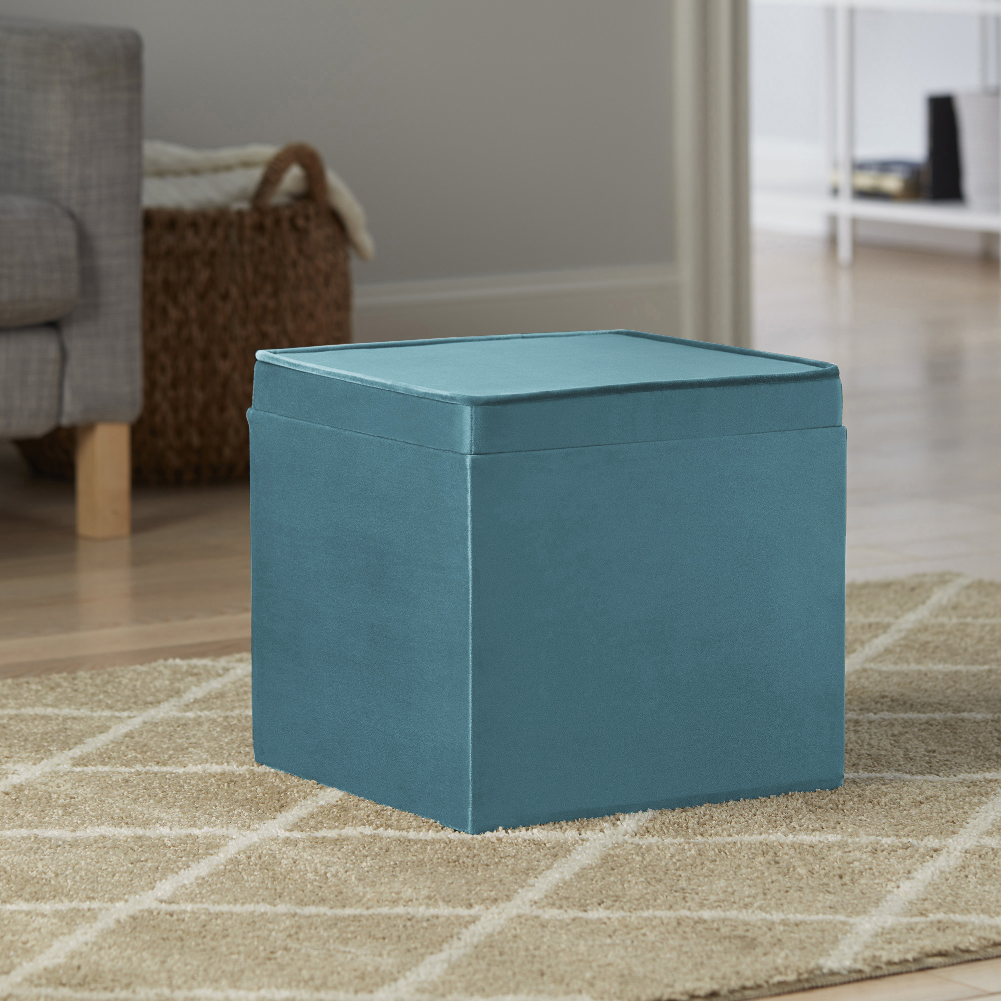 Better Home & Gardens Velvet Storage Ottoman with Tray, Cool Water