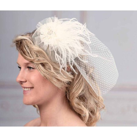 Lillian Rose Veil with Marabou (Diamond White Veils)