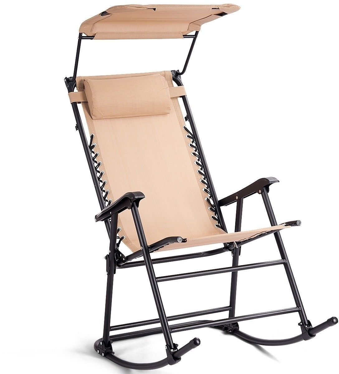 GHP 250-Lbs Capacity Beige Steel Fabric Elastic Rope Suspension Rocking Chair w Canopy