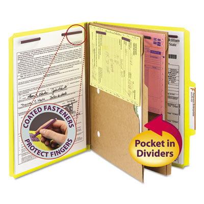 Smead 6-Section Pressboard Top Tab Pocket-Style Classification Folders w/ SafeSHIELD Fasteners, 2 Dividers, Letter, Yellow, 10/BX Pocket Style Classification Folders
