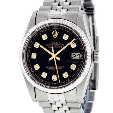 Pre-Owned Rolex Mens Datejust Steel & White Gold Black Diamond Watch 16014 Jubilee