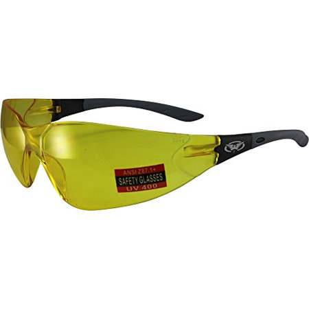 - Global Vision Relentless Safety Riding Glasses Grey Frame Yellow Lens ANSI Z87.1