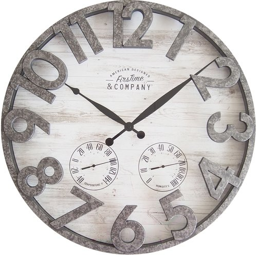 FirsTime Shiplap 18 in. Outdoor Wall Clock