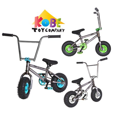 """Kobe """"Rusty Rat Rod"""" Mini BMX - Off-Road to Skate Park, Freestyle, Trick, Stunt Bicycle 10"""" Wheels for Adults and Kids - Blue - image 12 de 12"""