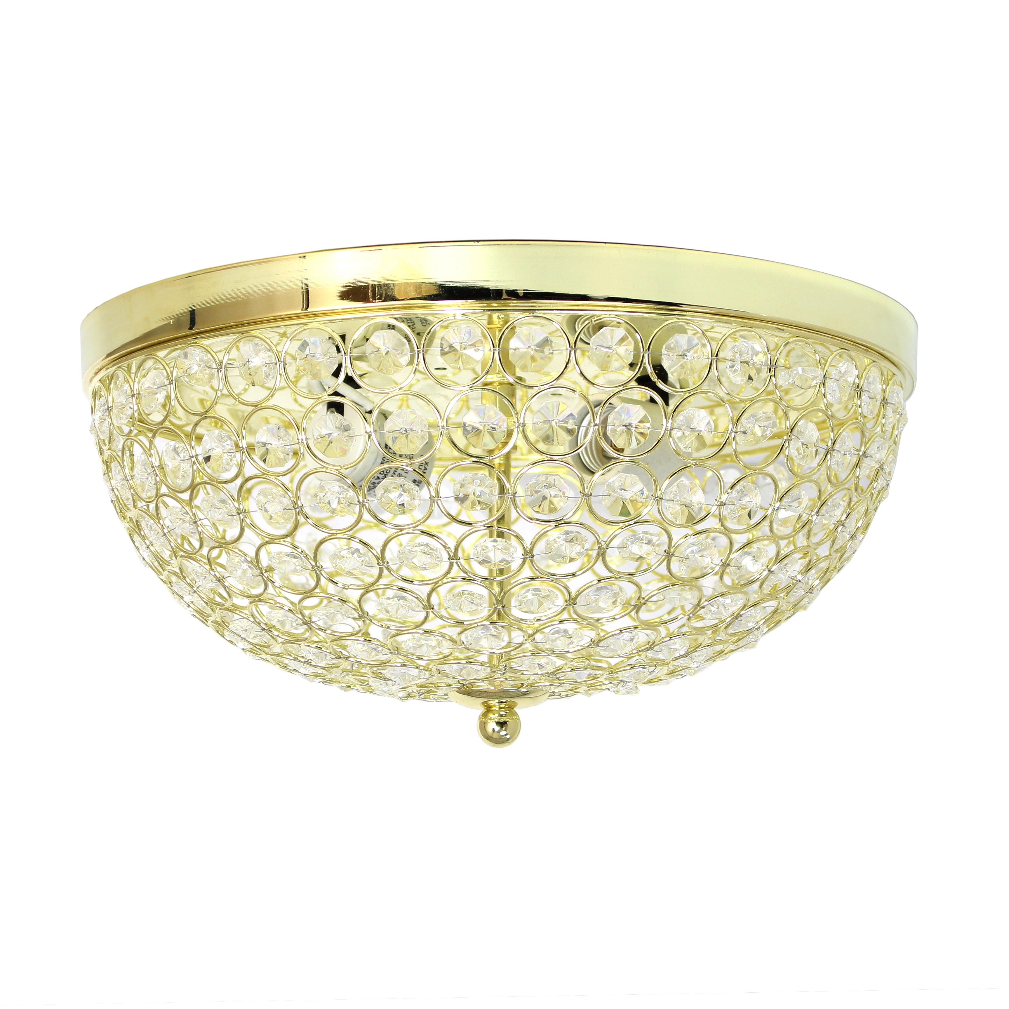 Elegant Designs 2-Light Elipse Crystal Flush Mount Ceiling Light