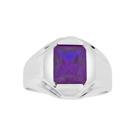 Sterling Silver White Rhodium, Classic Ring Men Guy Gent Created Feb Birthstone Purple CZ Crystals