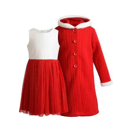 Sweetheart Rose Tulle Sparkle Holiday Christmas Dress With Quilted Faux Fur Trimmed Hooded Coat (Little Girls & Big Girls) Best Holiday Dresses