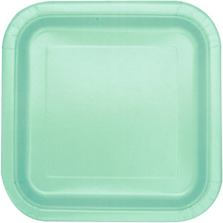 Square Paper Plates, 7 in, Mint Green, 16ct