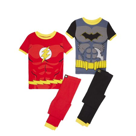 Boys' Justice League Batman and Flash 4 Piece Pajama Sleep Set (Little Boy & Big Boy)