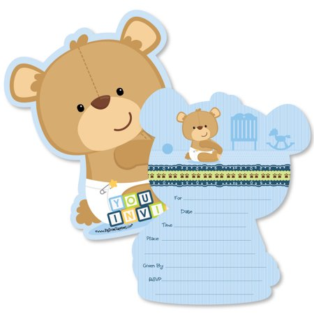 Baby Boy Teddy Bear - Shaped Fill-In Invitations - Baby Shower Invitation Cards with Envelopes - Set of 12 - Sprinkle Baby Shower Invitations
