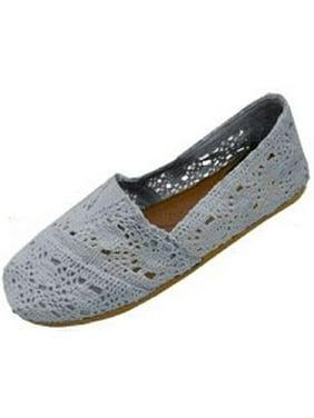 Womens Canvas Crochet Slip on Shoes Flats 5 Colors 5060 Nude 7/8