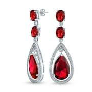 Red CZ Teardrop Dangle Earrings Silver Plated