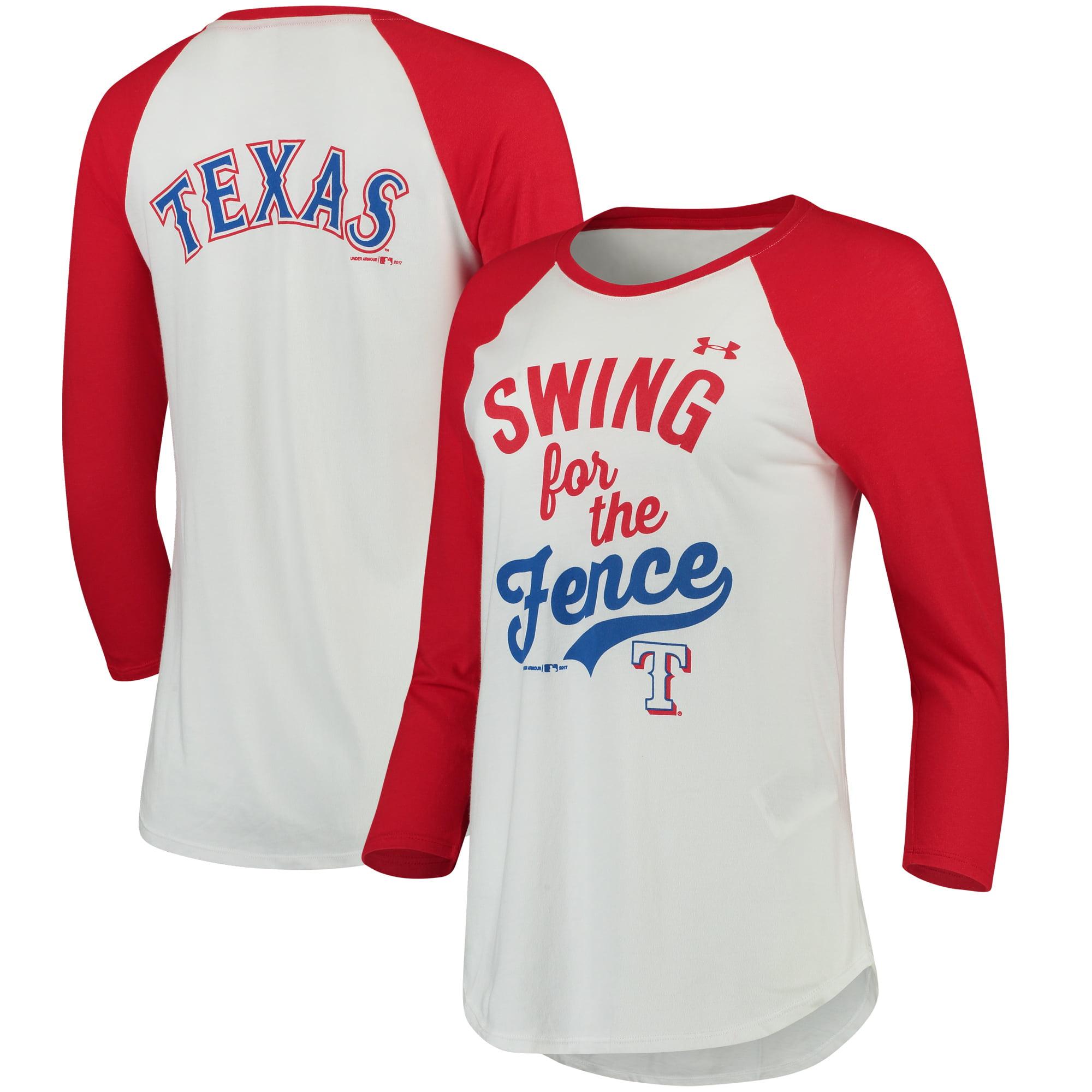Texas Rangers Under Armour Women's Baseball 3/4-Sleeve Performance T-Shirt - White/Red