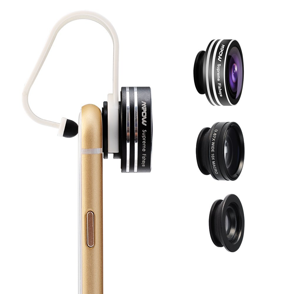 Mpow 3 in 1 Clip-On 180 Degree Supreme Fisheye + 0.67X Wide Angle + 10X Macro Lens for iOS Android Smartphones