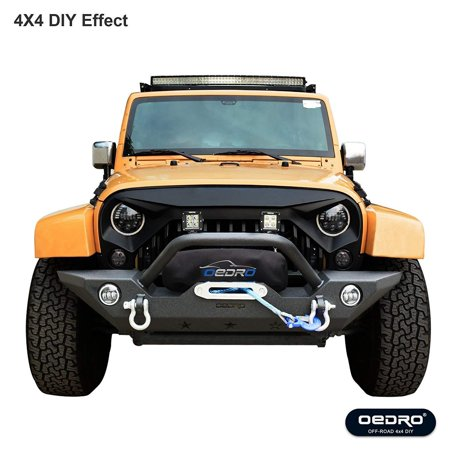OEDRO JK Front Bumper + 2x Square LED Light Bars Combo, Compatible for 07-18 Jeep Wrangler Unique STAR GUARDIAN Design, Upgraded Textured Black Rock Crawler Off Road Bull Bar