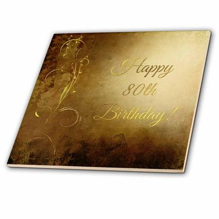 3dRose 80th Birthday, Elegant Gold Vine on Gold Background - Ceramic Tile, 6-inch