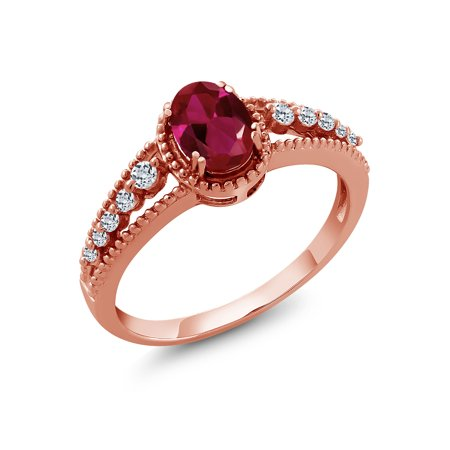1.21 Ct Oval Red Created Ruby White Topaz 18K Rose Gold Plated Silver Ring