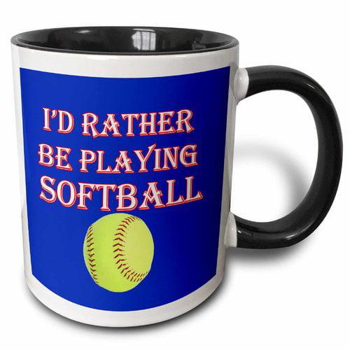 Symple Stuff Northwich I'd Rather be Playing Softball Game Winning Score Popular Saying Coffee Mug