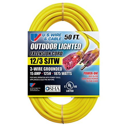 Extension Cord Lighted Plug Ultra Flexibility Heavy Duty Yellow 15 Amp 50 (Foot 15 Amp)