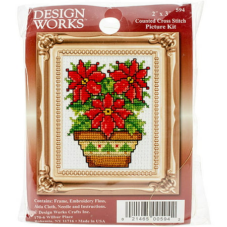 Poinsettias Ornament Counted Cross-Stitch Kit, 2