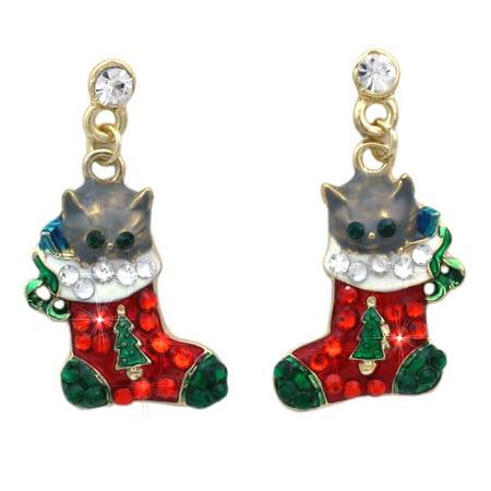 cocojewelry Kitty Cat Christmas Stocking Charm Dangle Post Earrings Jewelry Charm Earrings Jewelry