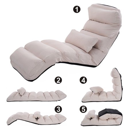 Costway Beige Folding Lazy Sofa Chair Stylish Couch Beds Lounge W Pillow